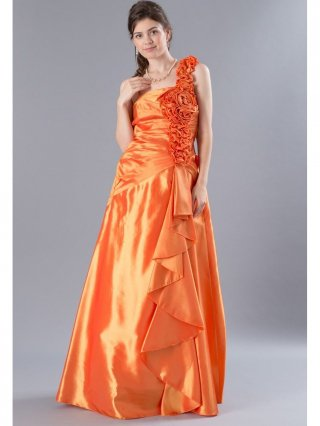薔薇とフリル オレンジのロングドレス2400/ラミューズドレス通販