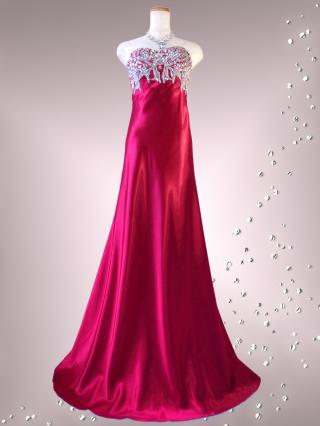 ラグジュアリーベアトップドレス シャンパン レッド / 赤 ワイン 演奏会 ラミューズドレス通販