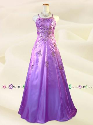 エレガンスゴールド刺繍 ラベンダーのロングドレス9007/ 演奏会 ラミューズドレス通販