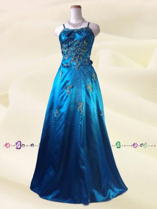 エレガンスゴールド刺繍 ブルーのロングドレス9007 / 演奏会 ラミューズドレス通販