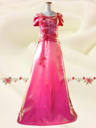 ローズ・アダージョ*袖付きロングドレス 9-276 ピンク ステージ衣装/ラミューズドレス通販