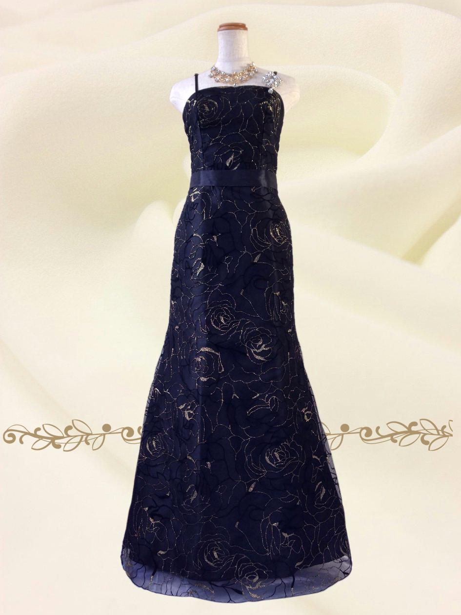 漆黒のジュエリーブラック ロングドレス♪0214 オーケストラ 伴奏 ステージ衣装の通販