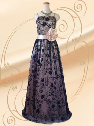 【M-L】ロマネスク柄のロングドレス ゴールド 3429/ 演奏会 ラミューズドレス通販