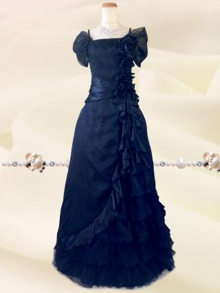 プリンセスROSE♪袖付きロングドレス 6040 黒 ロングドレス
