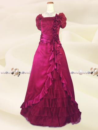 プリンセスROSE♪袖付きロングドレス 6040 ワイン