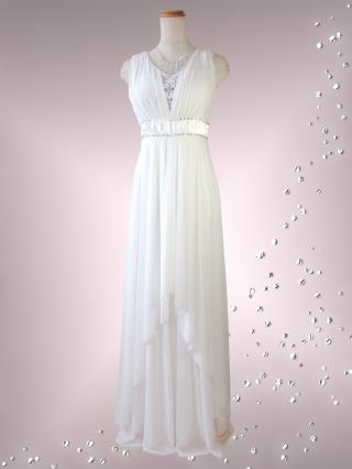 ホワイトのモンロードレス/ 6191 / 演奏会 オーケストラ 伴奏 ラミューズドレス通販