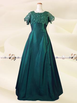 【3L】リカーモグリーン 袖付きロングドレス 5737/演奏会 ラミューズドレス通販