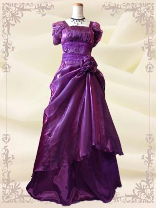 エリーゼドレス【M、L】パープル 袖付き 演奏会用ロングドレス 3205
