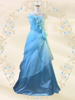 ダメージあり 優美な薔薇のロングドレス ライトブルー6301/ 演奏会ロングドレス
