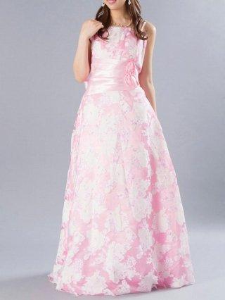 フローラルロングドレス ピンク 4066/ 演奏会・ラミューズドレス通販