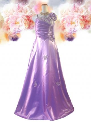 お得なパニエセット☆サテン刺繍 パープル Aラインロングドレス 9010演奏会 ラミューズドレス通販
