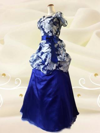 【大きいサイズ2L】牡丹ロングドレス 青/演奏会・ラミューズドレス通販