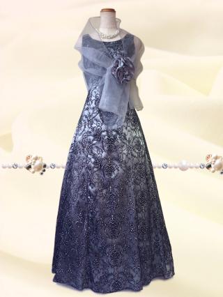 【3L】華のシルバーラメ ロングドレス6426/ 演奏会 ラミューズドレス通販