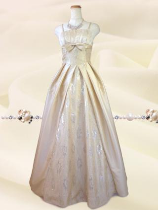 クラシカルプリンセス♪ライトベージュのロングドレス 6676演奏会 ラミューズドレス通販