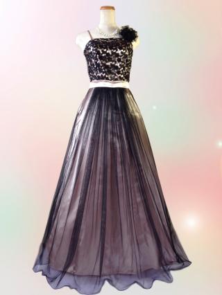 【訳あり・LL】ゴールドのチュールロングドレス D-9009/ 演奏会 ラミューズドレス通販