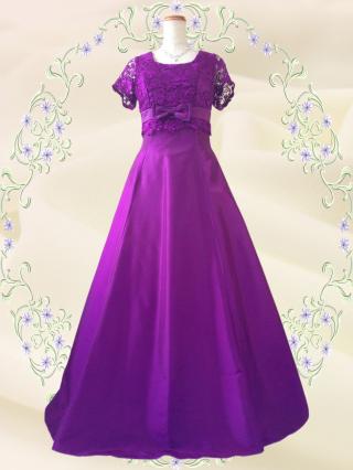 ルネサンス・パープルの袖付ステージドレス  4104 /演奏会