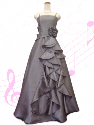 フリルロングドレス シルバーグレー / 2406シンプルステージ衣装