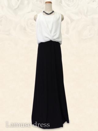 ●ホワイトのレイヤーロングドレス ノースリーブ 8195 / 演奏会 ステージ衣装 発表会
