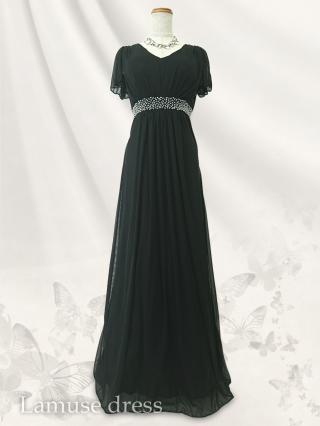 ルーチェ・ブラック お袖付ロングドレス8552/演奏会ステージ衣装