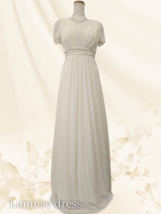 ルーチェ・ホワイトクリーム お袖付ロングドレス8552/演奏会ステージ衣装