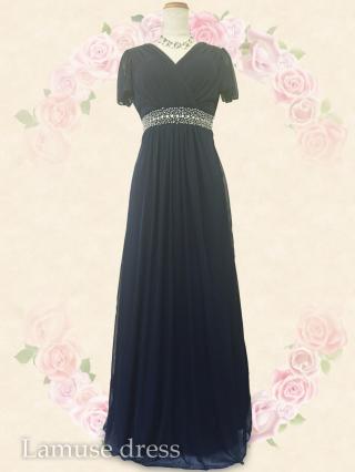 new!!ルーチェ・ネイビー お袖付ロングドレス8549/演奏会ステージ衣装