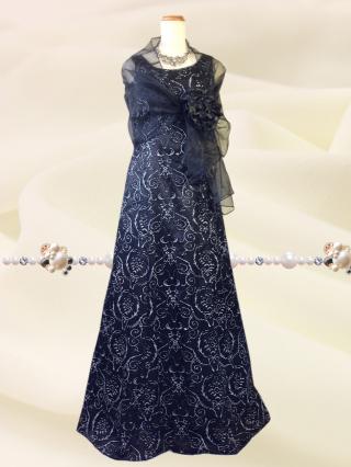 【3L】華のブラックラメ ロングドレス・ショールなし 6426/ 演奏会 ラミューズドレス通販