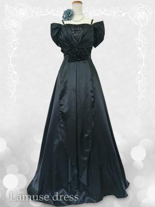 ベルベット風 お袖付きブラックロングドレス 3328演奏会 ラミューズドレス通販