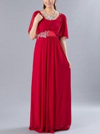 グレースドレス・レッド お袖付ロングドレス8641/演奏会ステージ衣装