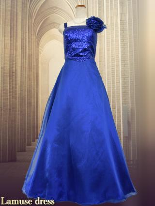 スターキャロル・ロングドレス ブルー6762/演奏会 ラミューズドレス通販