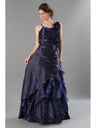 上質サテン フリルネイビーロングドレス2372演奏会 ラミューズドレス通販