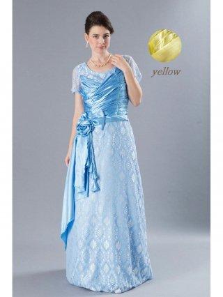 【2L】フラワーレースドレス イエロー・ライトブルー袖付きロングドレス 8788演奏会