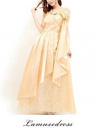 スパンコールの着やせドレス♪ベージュ6141/ラミューズドレス通販