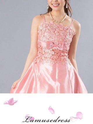 ローズピンクのロングドレス・ショール付2676/ 演奏会 ラミューズドレス通販