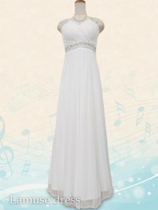ヴィーナスライン・ホワイト ロングドレス8478 / 演奏会 ラミューズドレス通販
