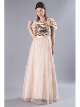 スパークル・ゴールド 袖付きロングドレス 4339演奏会 ラミューズドレス通販