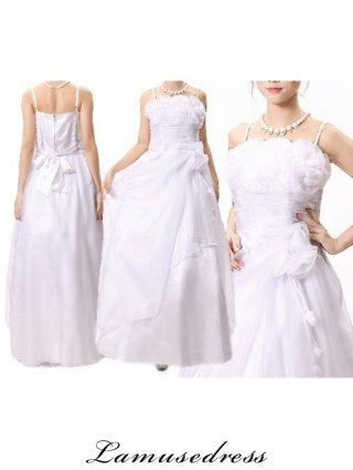 【Lサイズ】ホワイトブーケ薔薇のカラードレス9072 / 演奏会 ラミューズドレス通販