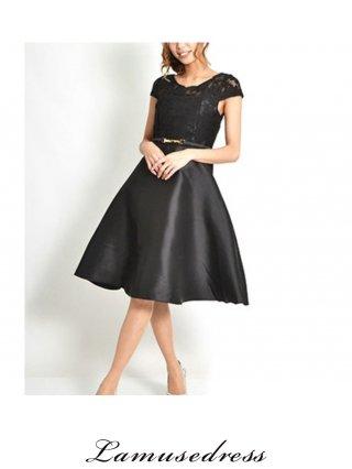 【M・L】Aライン ブラックワンピース・ステージ衣装 フォーマル ラミューズドレス