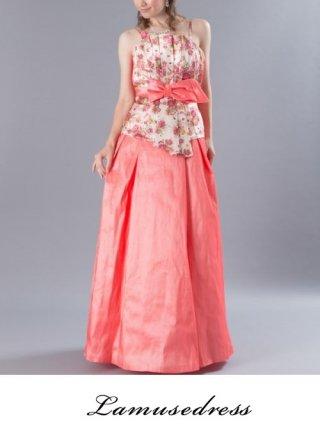 【お得なパニエセット☆】フラワープリントピンク*ステージ衣装ロングドレス6772/ 演奏会 ラミューズドレス通販
