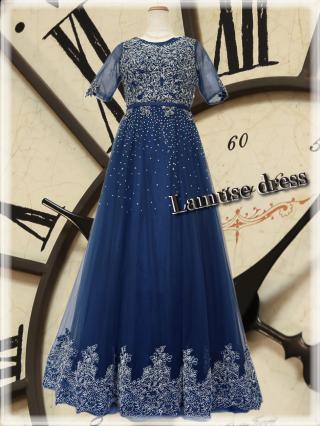 【レンタル】ロベルト・ネイビーのお袖付きステージドレス3367 ラミューズドレス演奏会