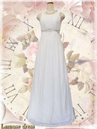 クロスビーズ*女神ラインノースリーブロングドレス・ホワイト8337 / 演奏会 ラミューズドレス通販