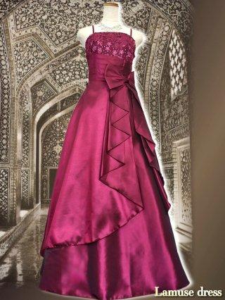 【M】ロマンスリボン・ラズベリー ロングドレス5296ステージドレス ラミューズ