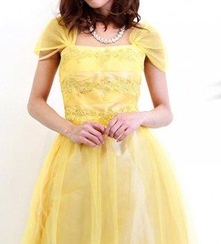 【背の低い方に】ベルイエローのリトル・プリンセスドレス5687演奏会ステージドレス