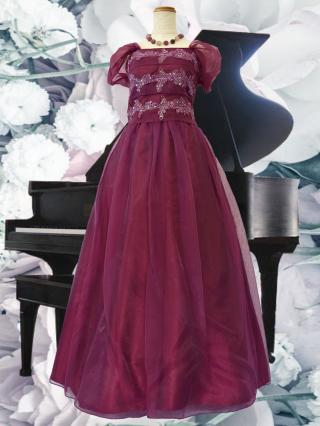 【背の低い方に・Lサイズ】ワインのリトル・プリンセスドレス5687演奏会ステージドレス