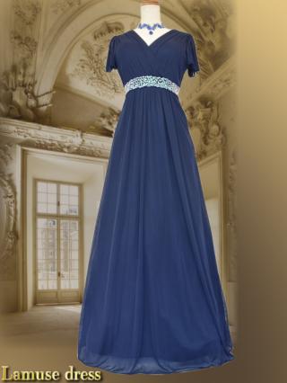 Lux ネイビー ロングドレス 8612/ 演奏会 ステージ衣装 発表会