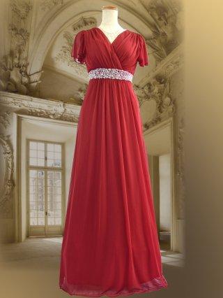 Luxレッド ロングドレス 8612/ 演奏会 ステージ衣装 発表会