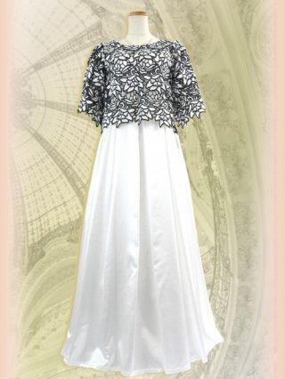 訳あり【Lサイズ】ホワイトケープ・ロングドレス 7233演奏会ステージドレス