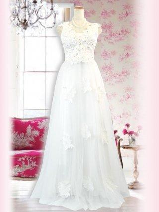 フランチェスコ・ホワイトロングドレス 4283演奏会ステージドレス