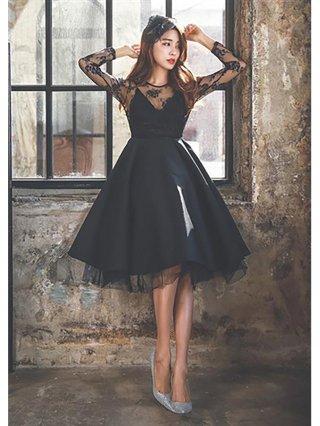 【Lサイズ】 MISSAブラック ワンピース 長袖 4615 ドレス