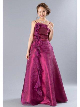 【L】ミルテ・フリルロングドレス レッド3616/演奏会 ラミューズドレス通販