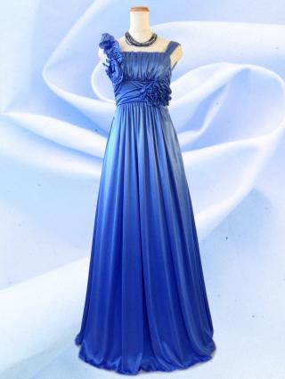アシンメトリーロングドレス ノースリーブ ブルー 6281/ 演奏会 ラミューズドレス通販
